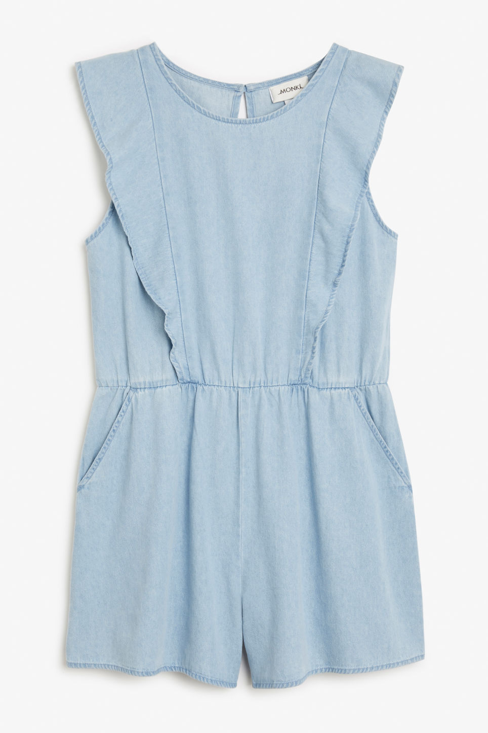Front image of Monki denim ruffle playsuit in blue