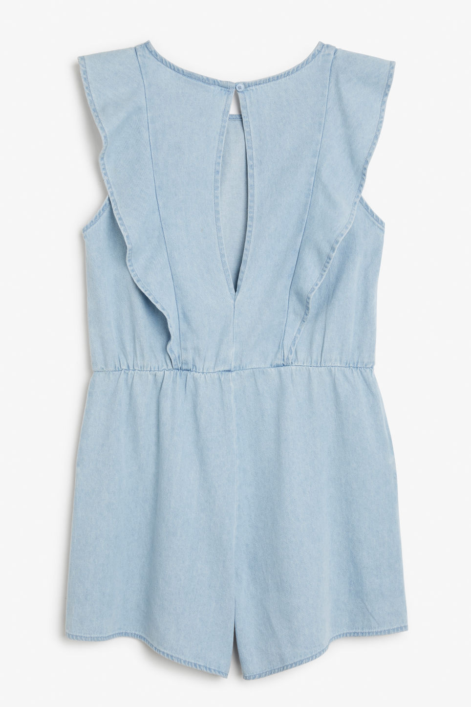 Back image of Monki denim ruffle playsuit in blue