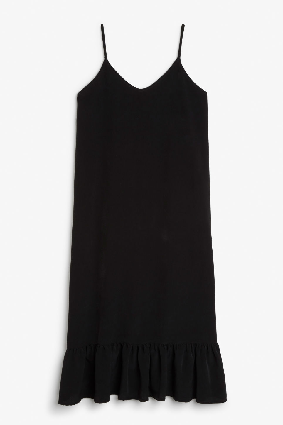Front image of Monki long spaghetti dress in black