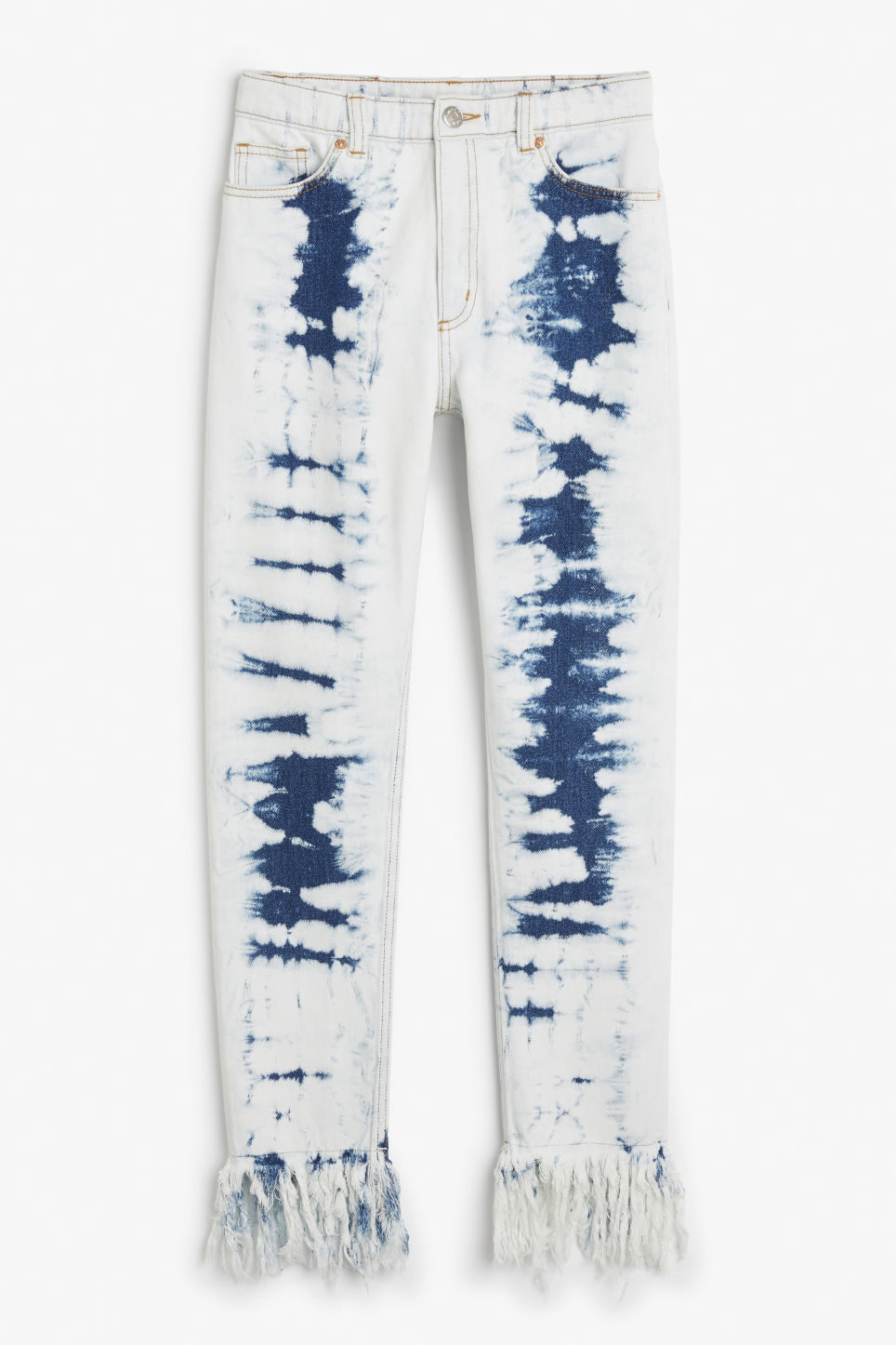 Front image of Monki kimomo long fringe jeans in blue