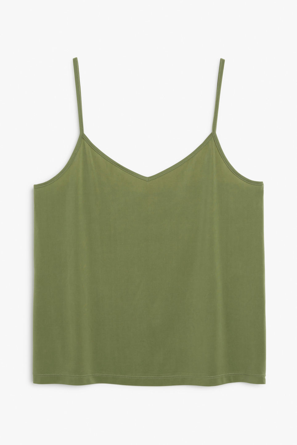 Front image of Monki spaghetti strap singlet in green