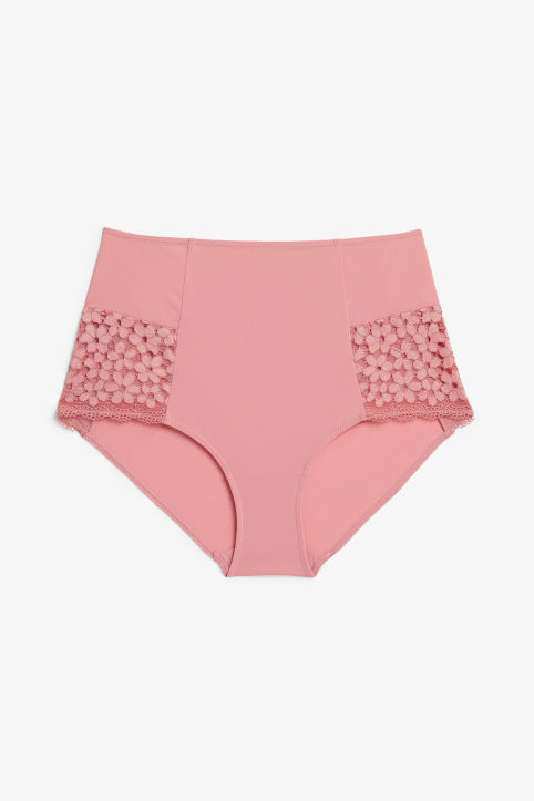 Front image of Monki highwaist briefs in pink