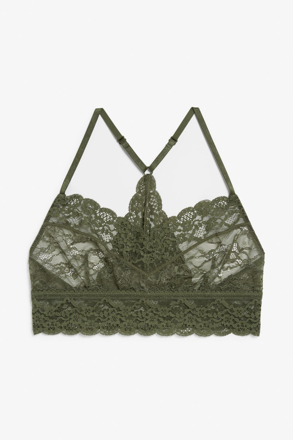 Front image of Monki sheer lace bra in green