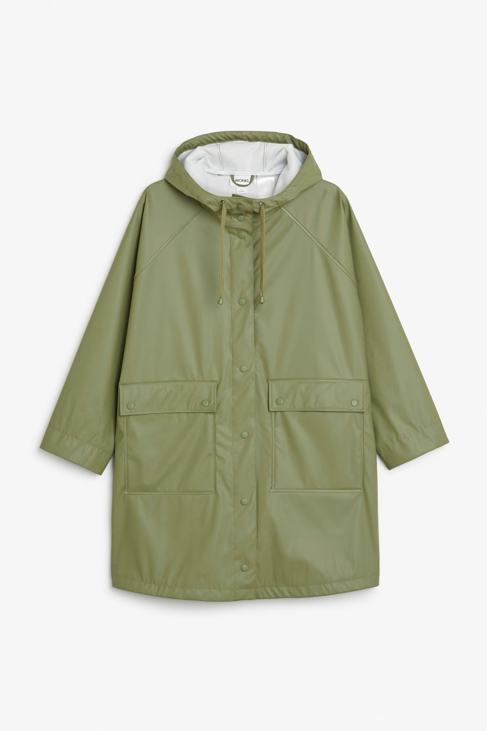 Front image of Monki hooded rain coat in green