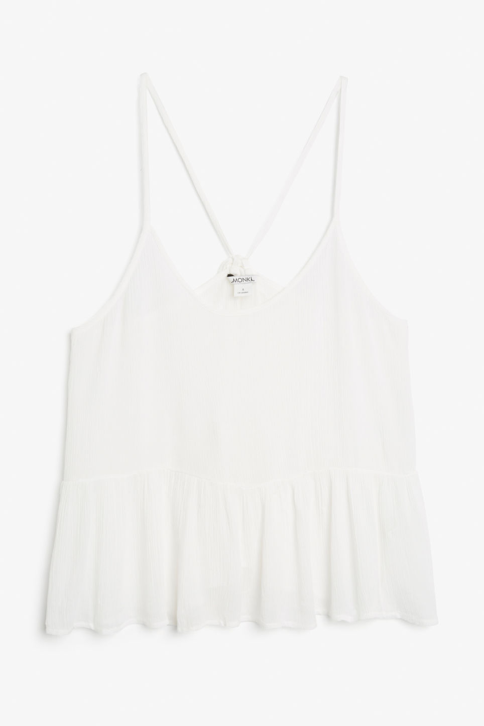 Front image of Monki ruffled halter top in white
