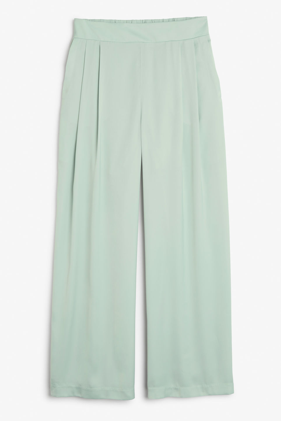 Front image of Monki flowy party trousers in green