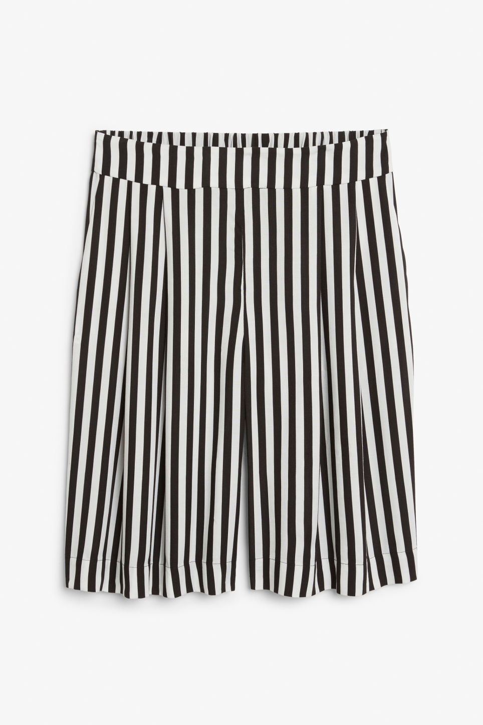 Front image of Monki pleat front culottes in white