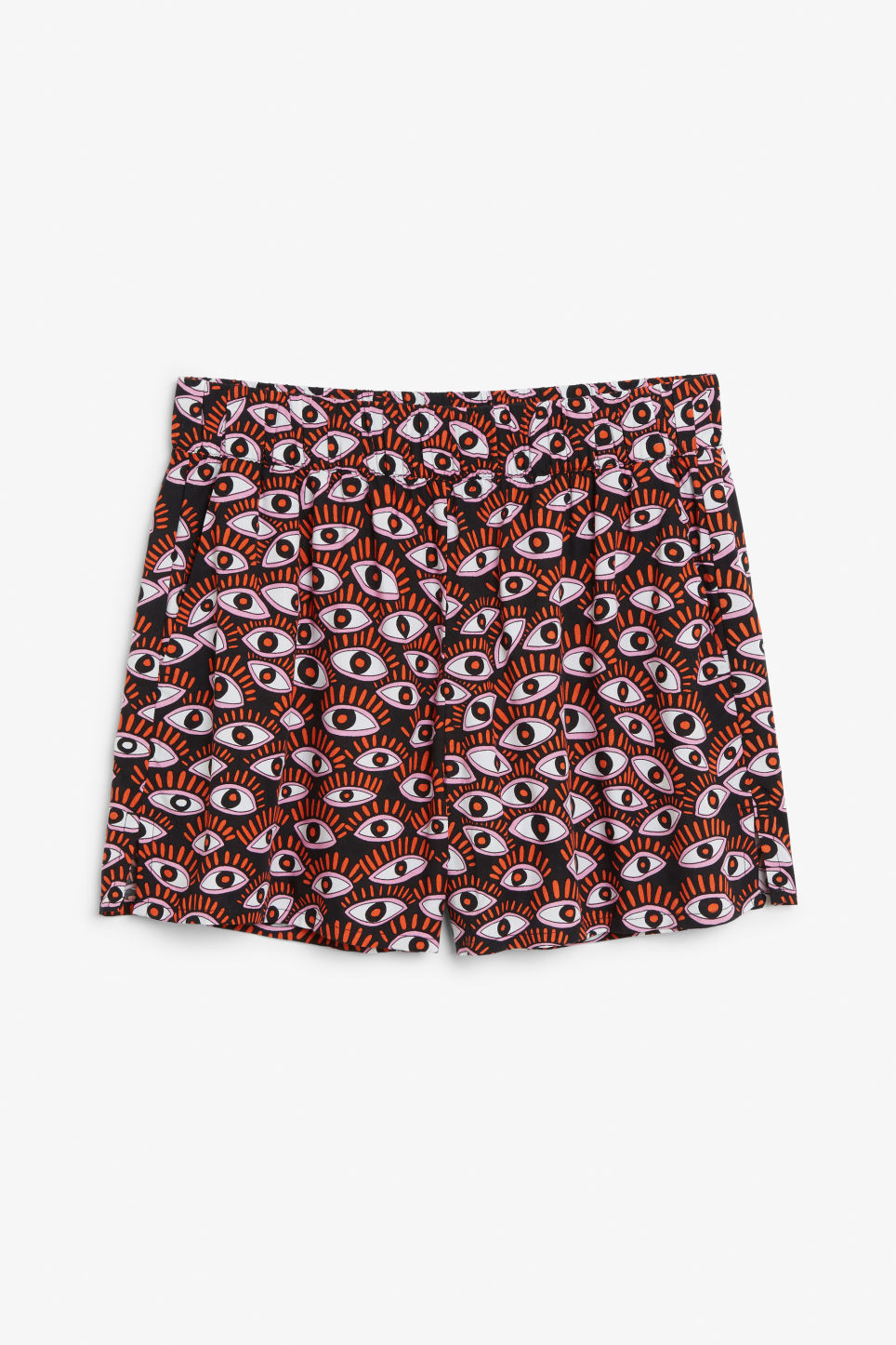 Front image of Monki loose fit shorts in black