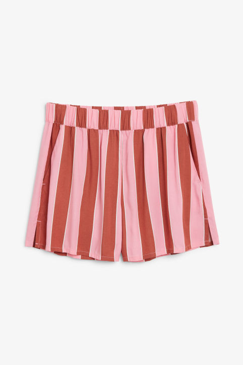 Front image of Monki loose fit shorts in pink
