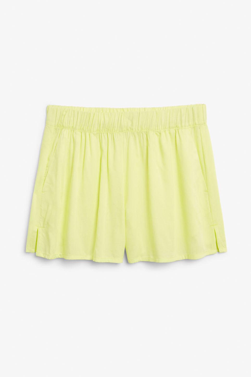 Front image of Monki loose fit shorts in yellow