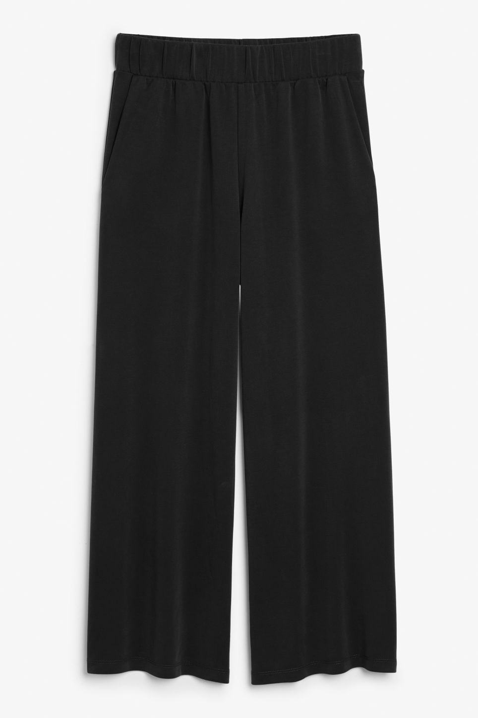 Front image of Monki super-soft trousers in black