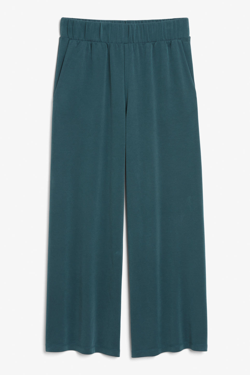 Front image of Monki super-soft trousers in green