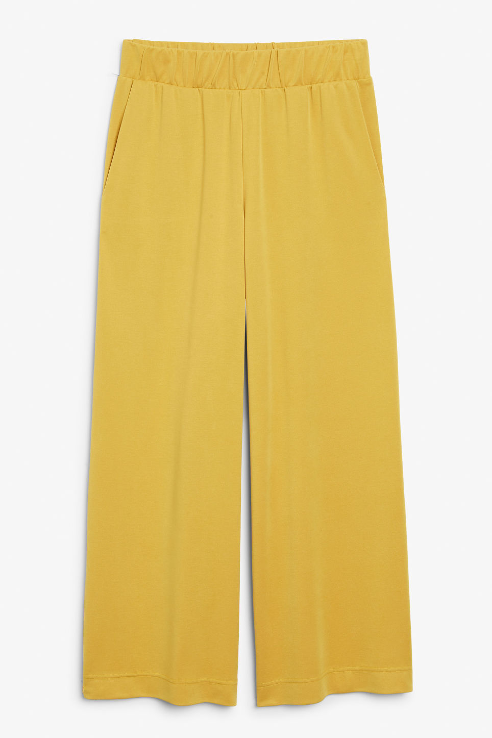 Front image of Monki super-soft trousers in yellow