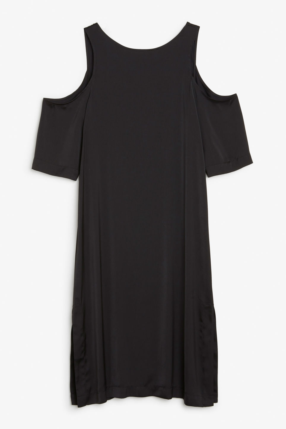 Front image of Monki long cold shoulder dress in black
