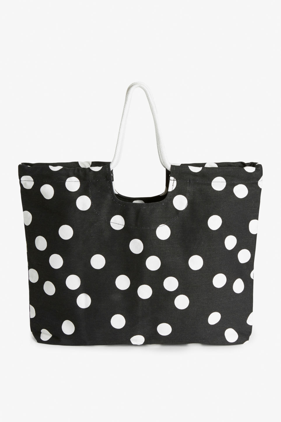 Front image of Monki beach bag with rope handle in black