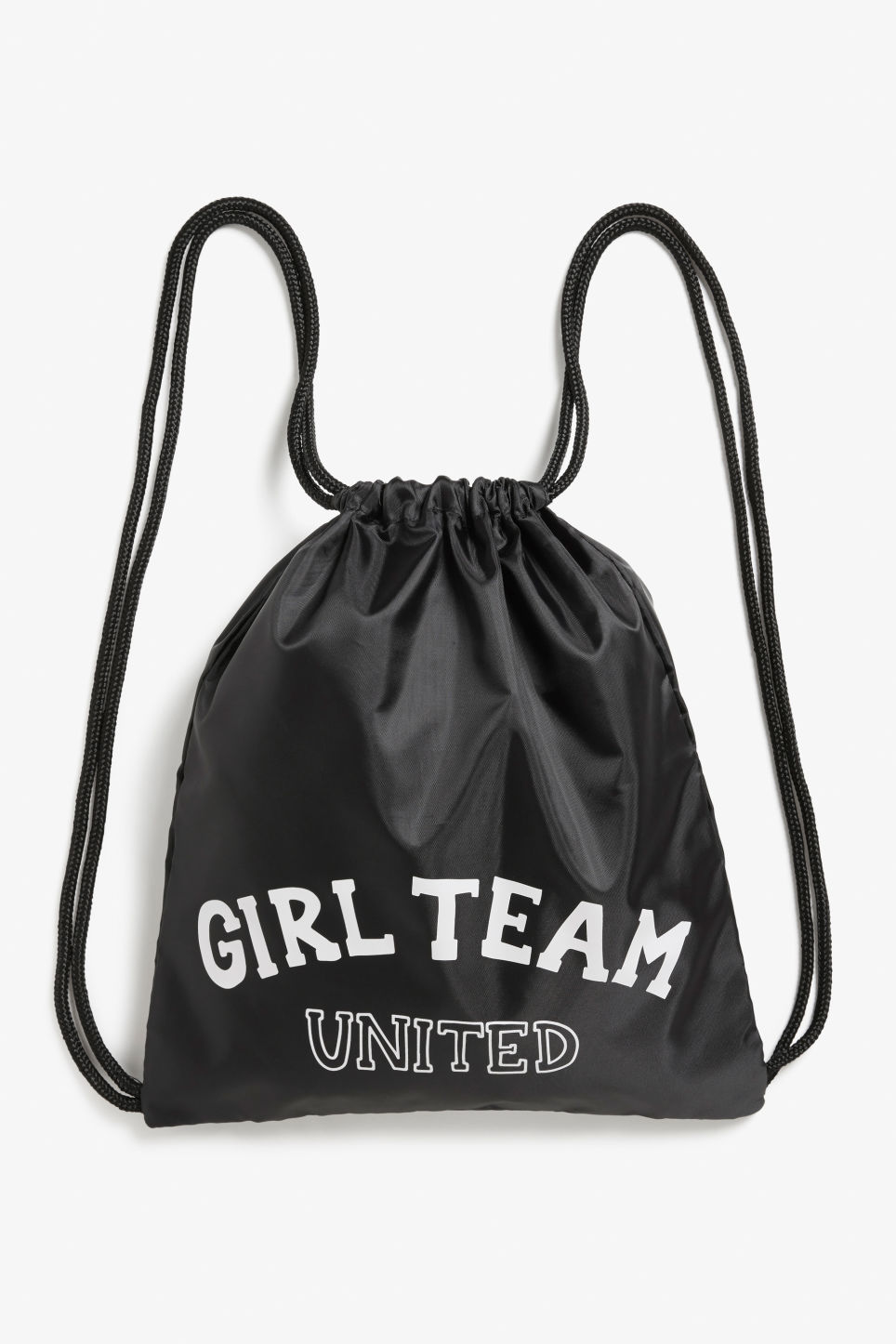 Front image of Monki drawstring backpack in black