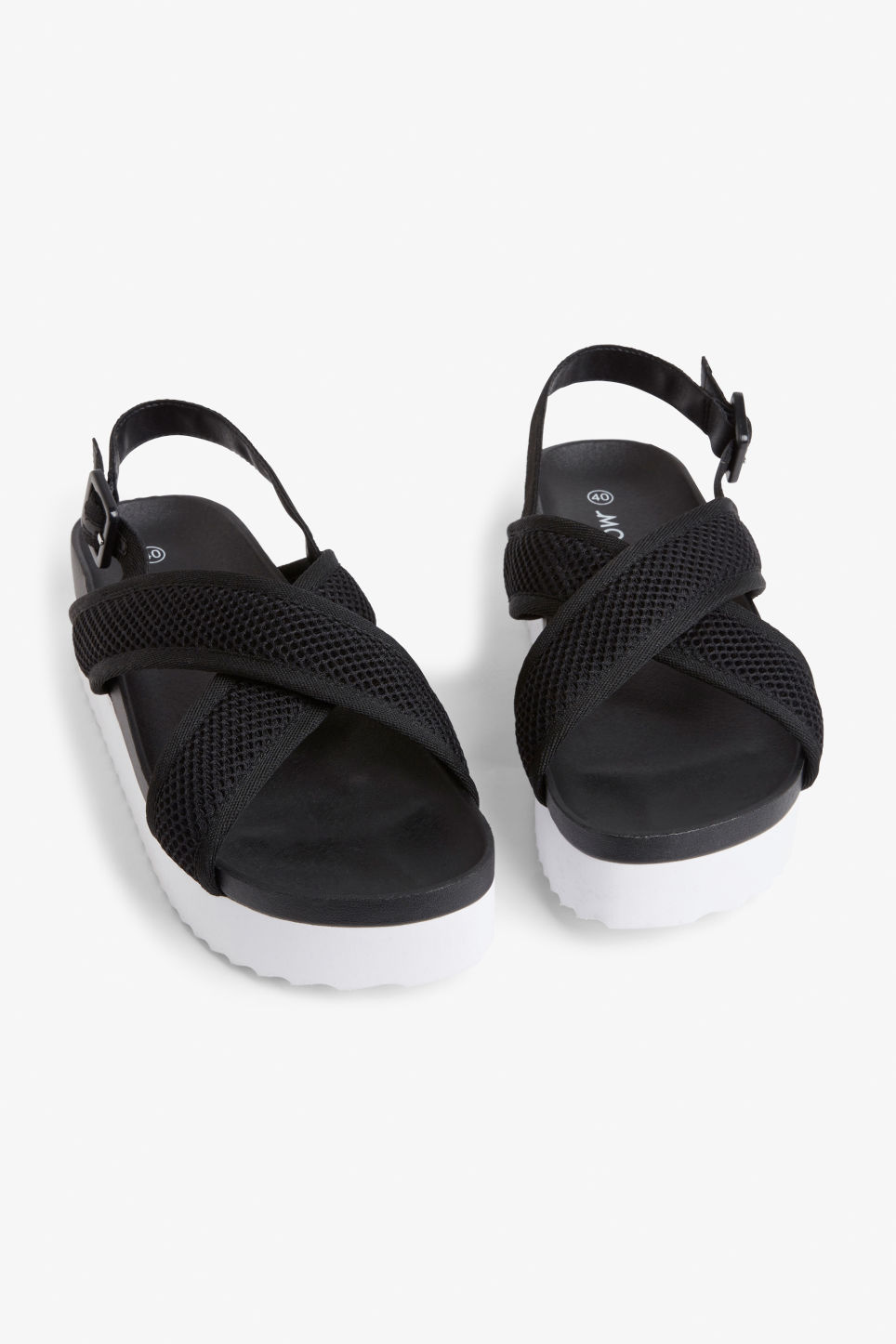 Front image of Monki sporty cross-strap sandals in black