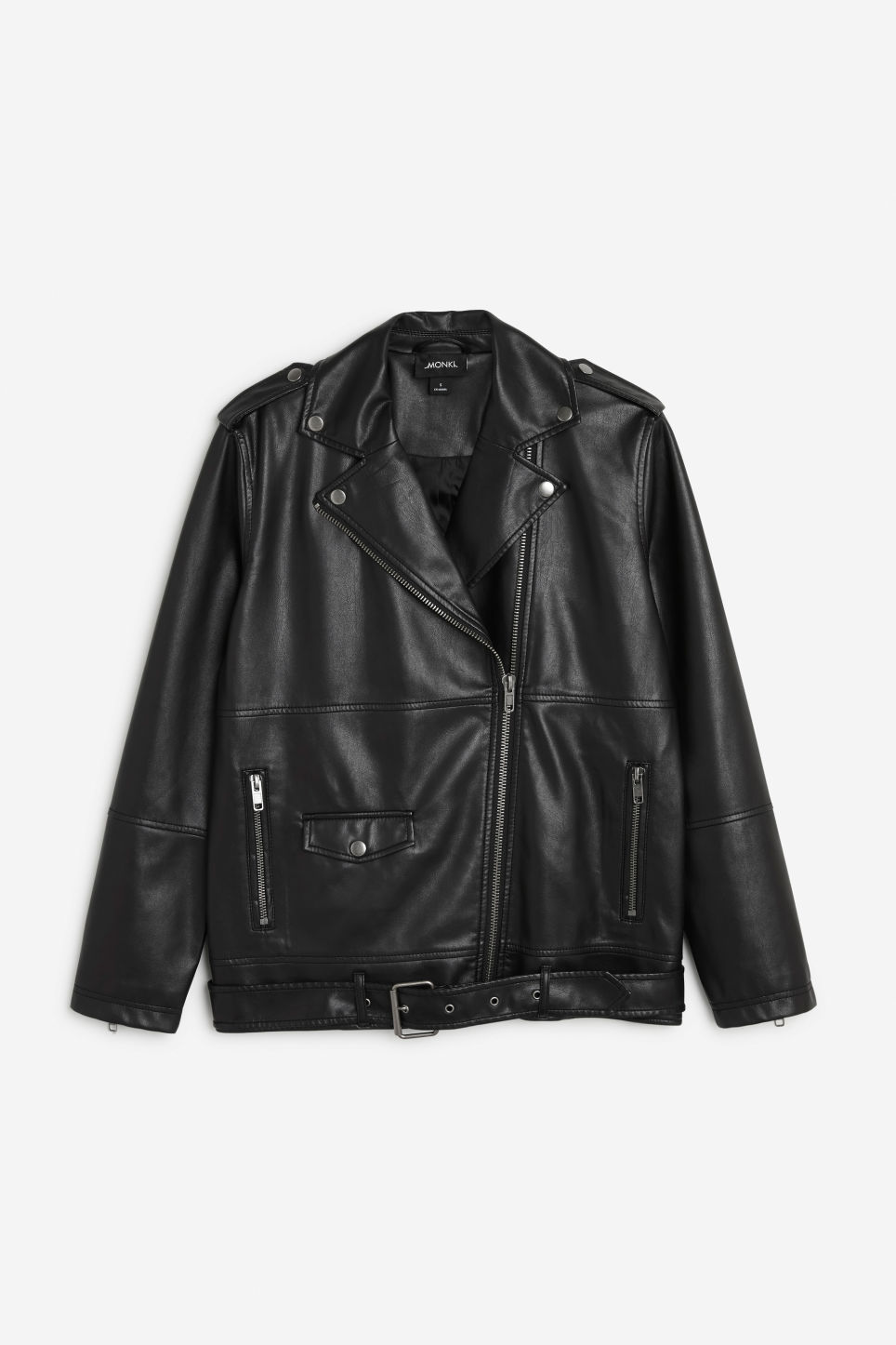 Front image of Monki biker jacket in black
