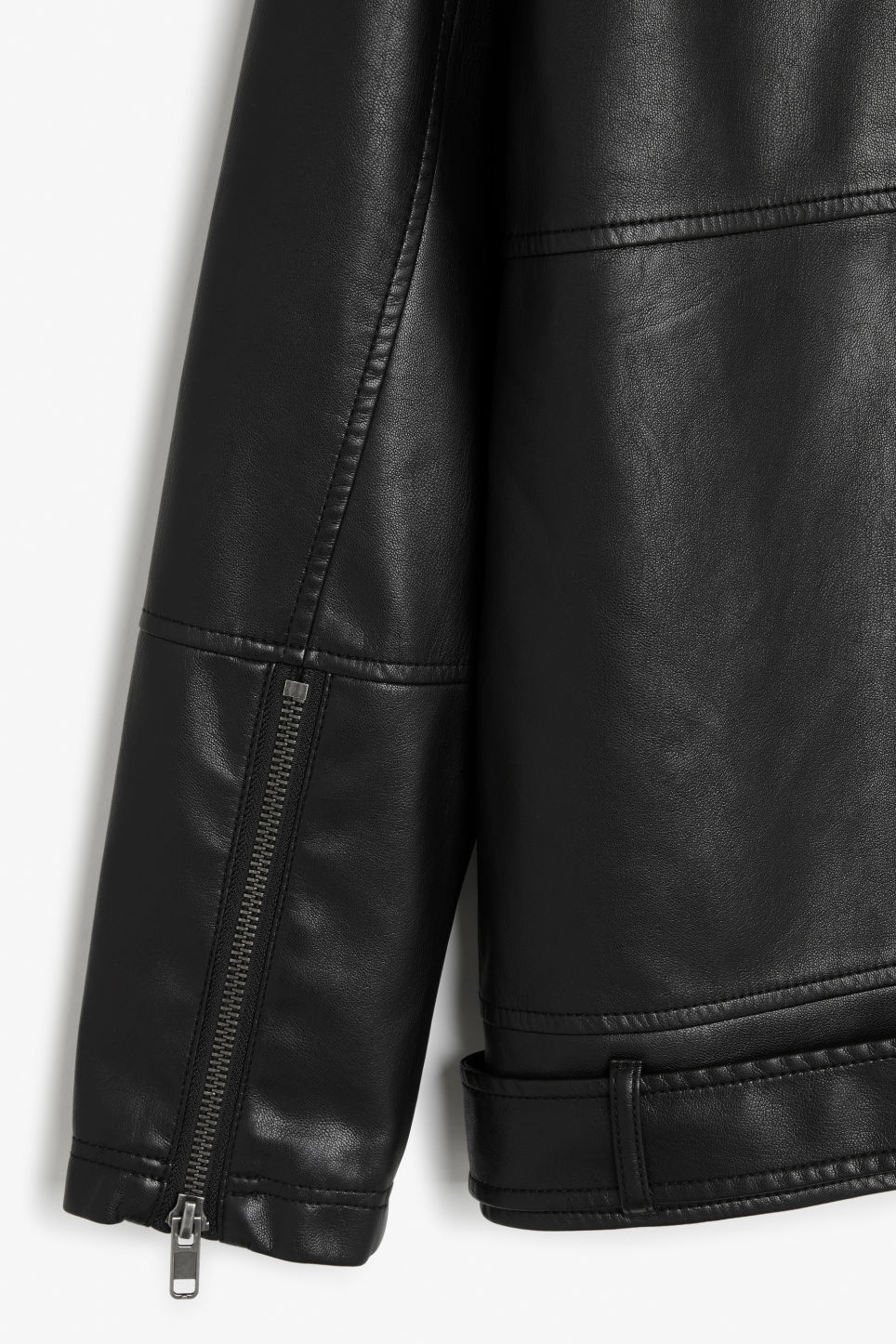 Side image of Monki biker jacket in black