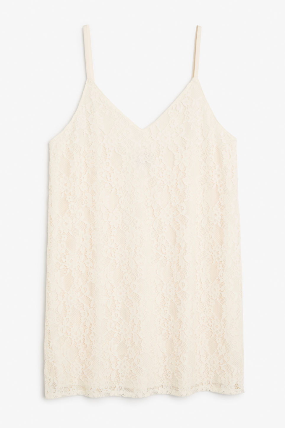 Front image of Monki lil black lace dress in white