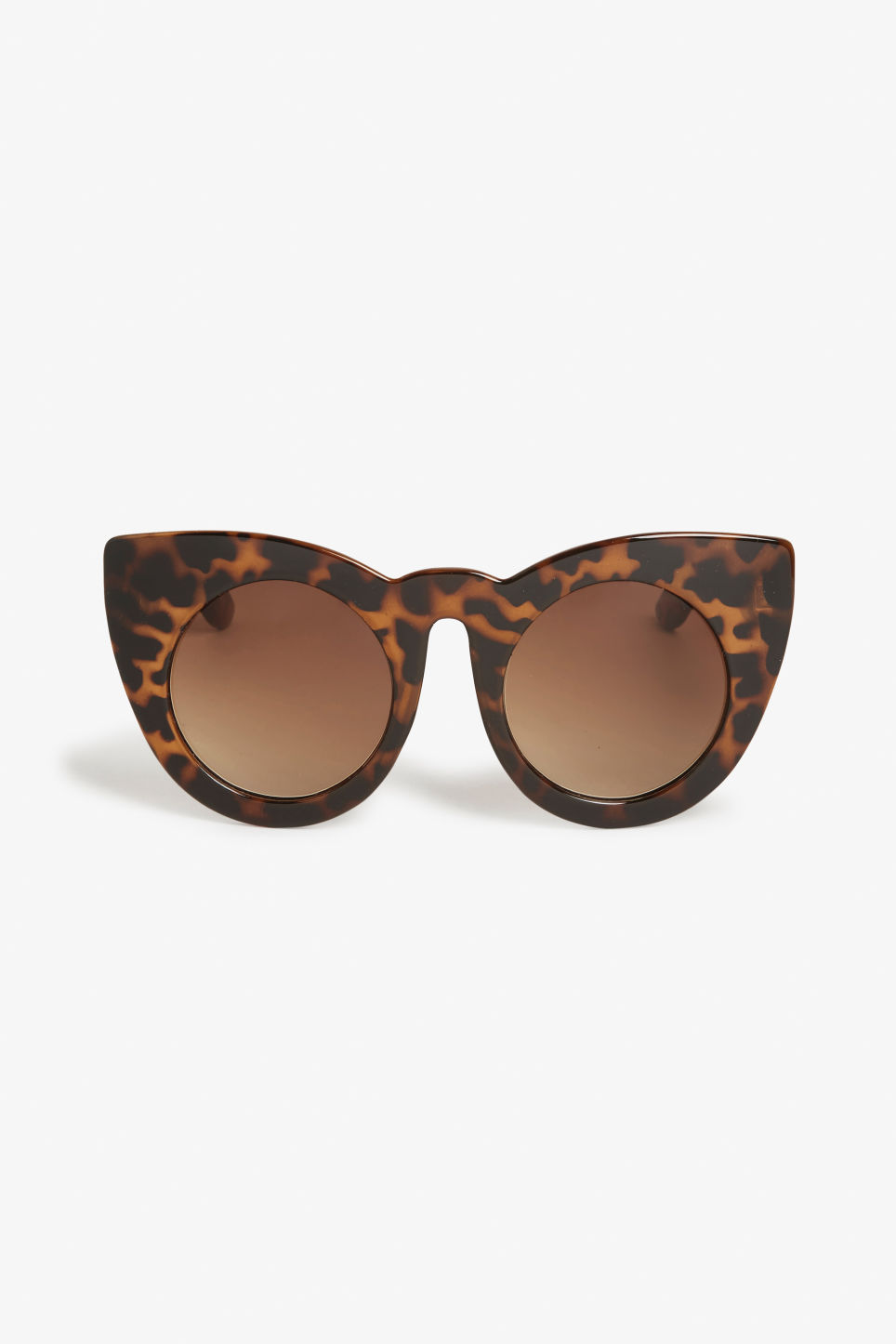 Front image of Monki cat eye sunglasses in beige