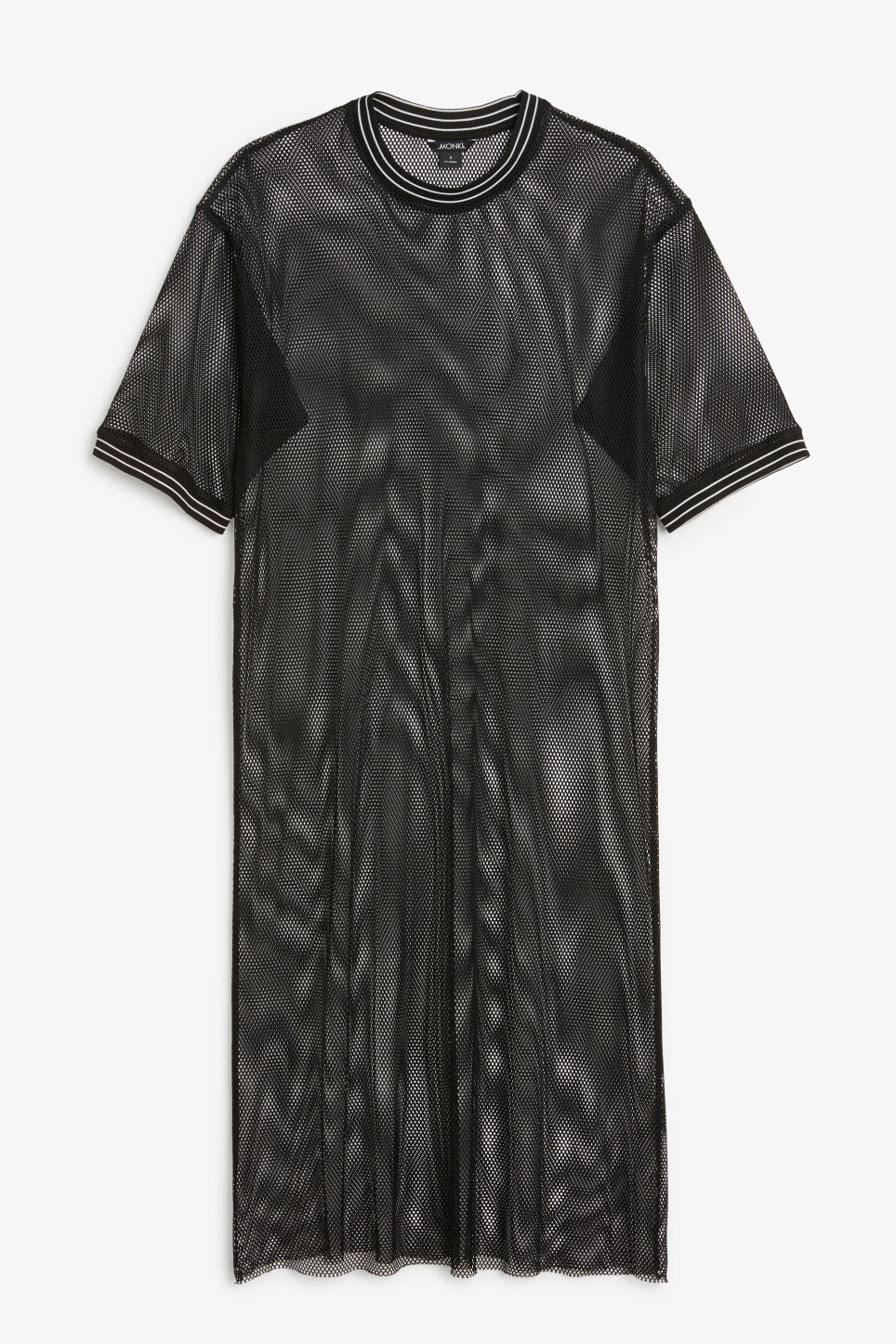 Front image of Monki mesh long dress in black