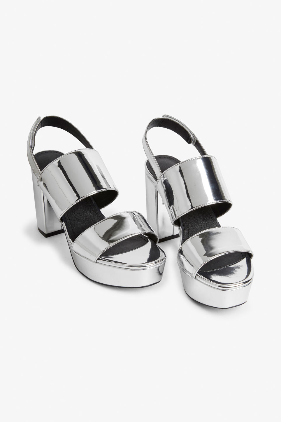 Front image of Monki platform heels in silver