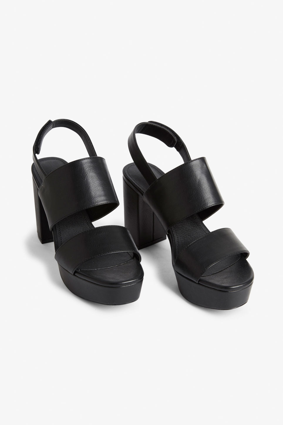 Front image of Monki platform heels in black