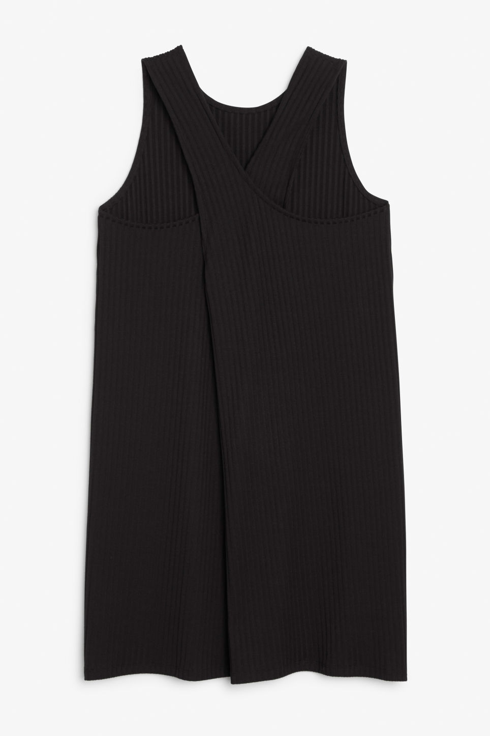 Back image of Monki sleeveless dress with cross back in black
