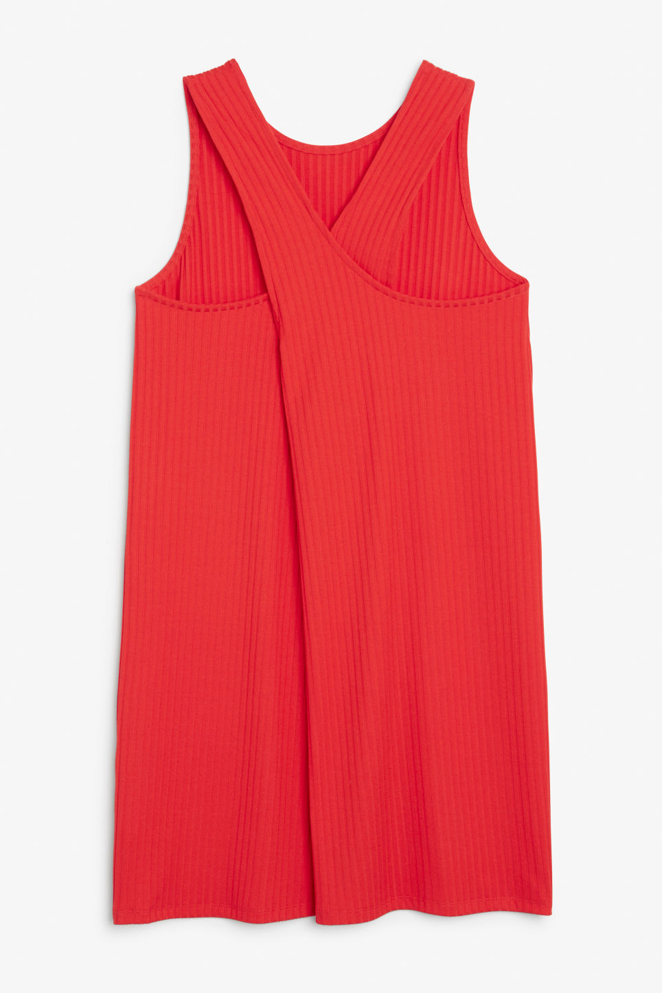 Front image of Monki sleeveless dress with cross back in red