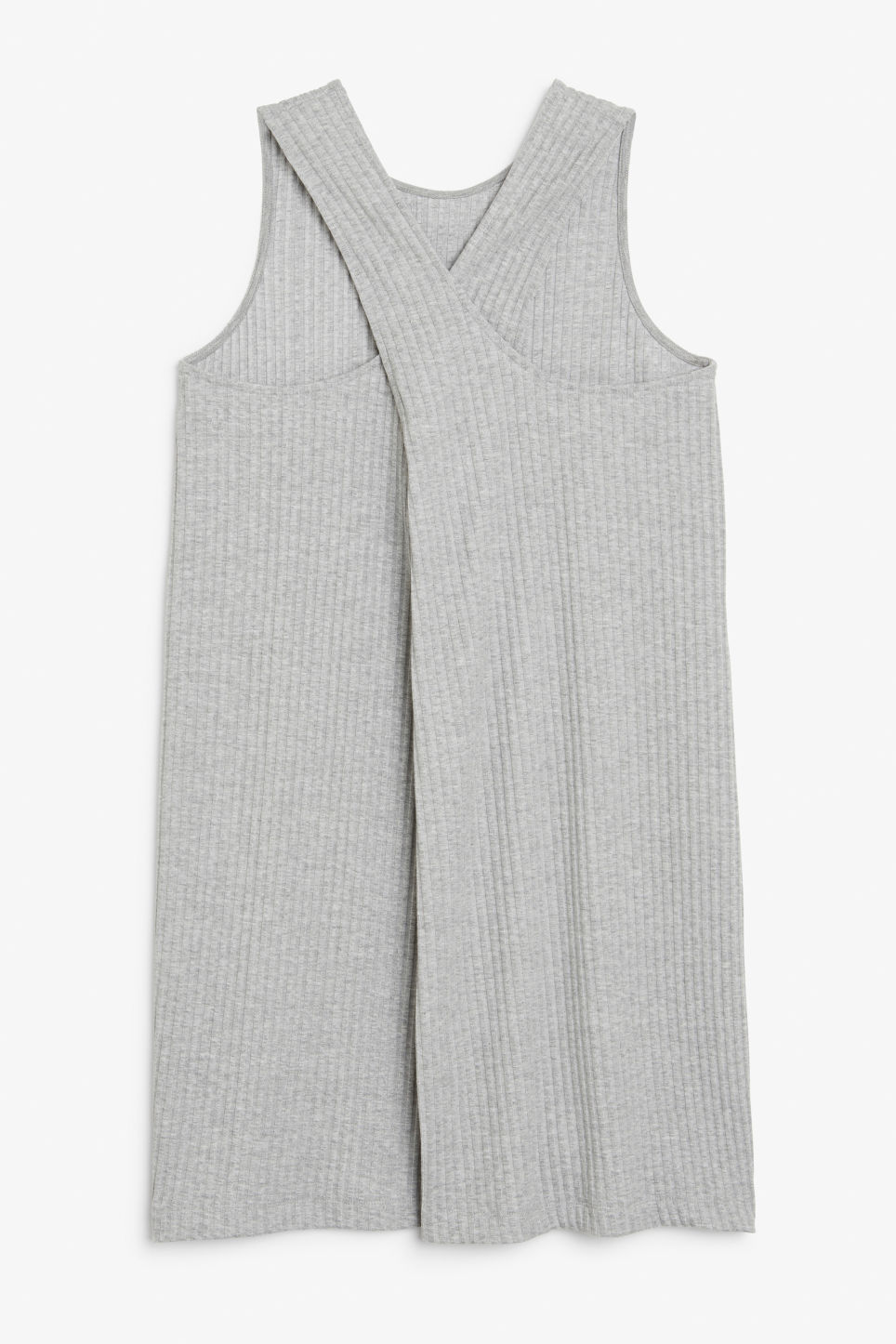 Back image of Monki sleeveless dress with cross back in grey