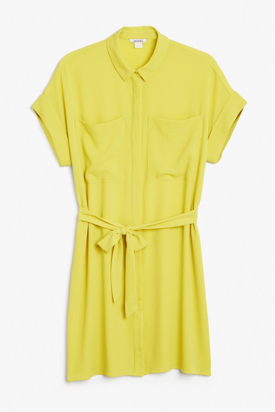 Front image of Monki tunic shirt dress in yellow