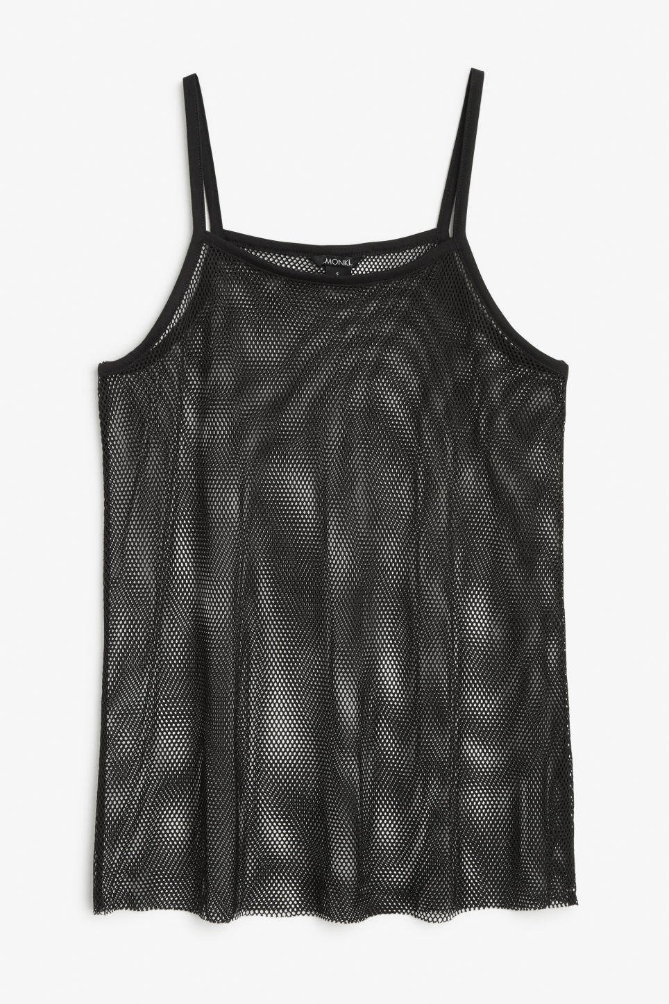 Front image of Monki fishnet singlet in black