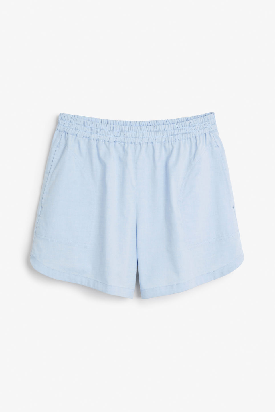 Front image of Monki soft cotton shorts in blue