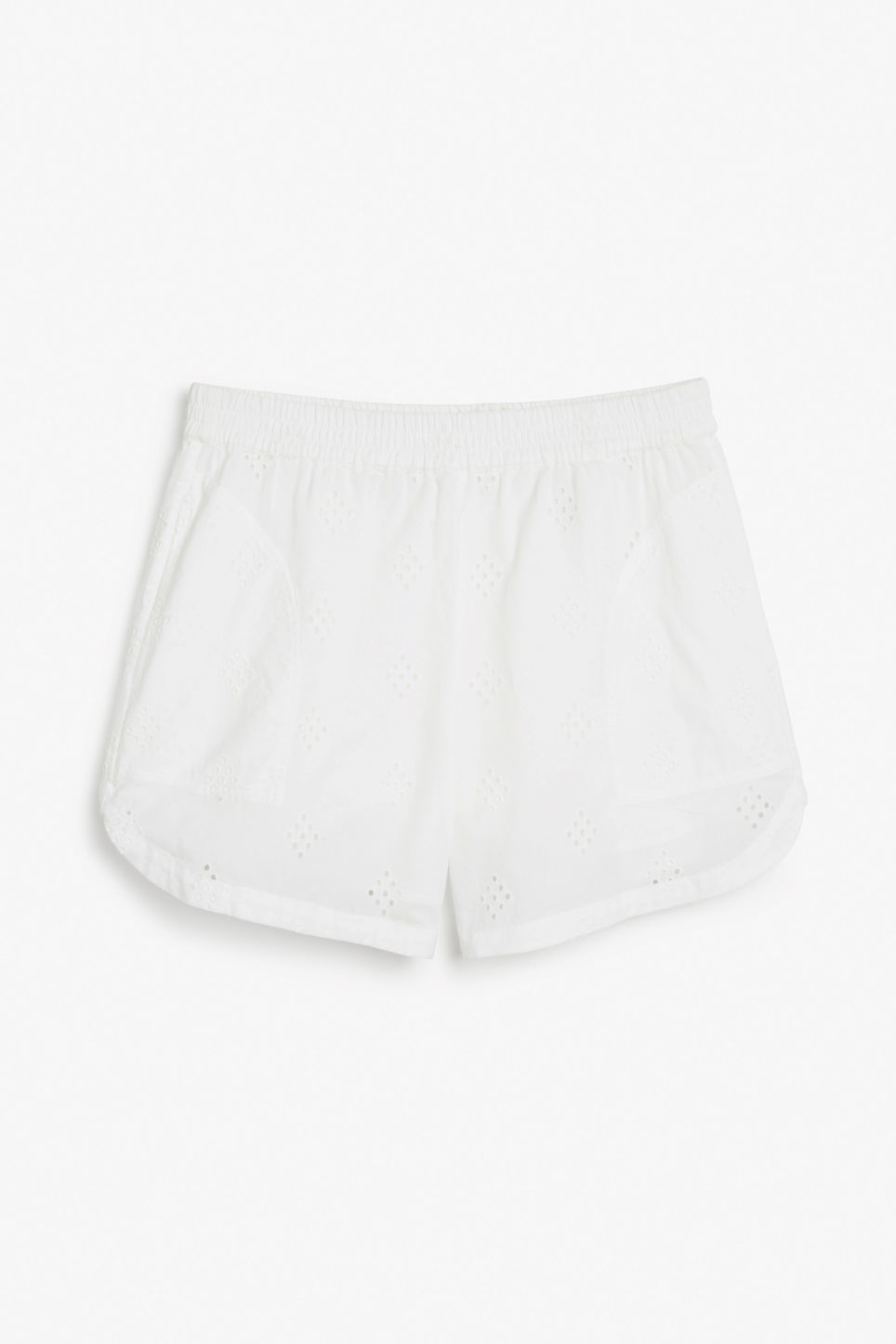 Front image of Monki soft cotton shorts in white