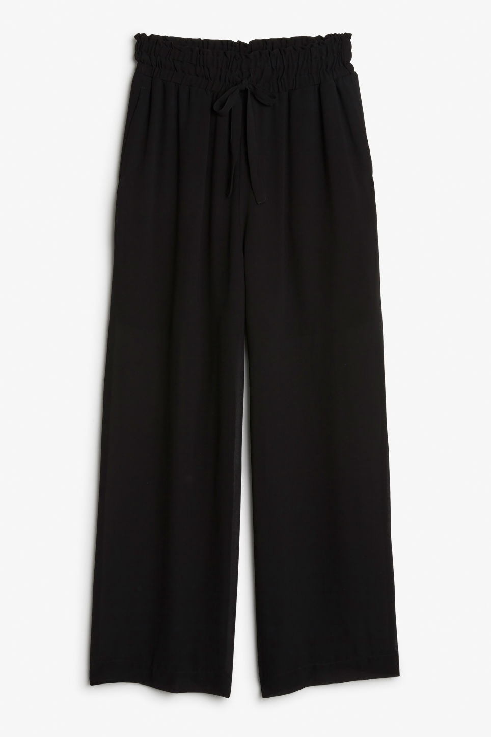 Front image of Monki semi-sheer palazzo pants in black