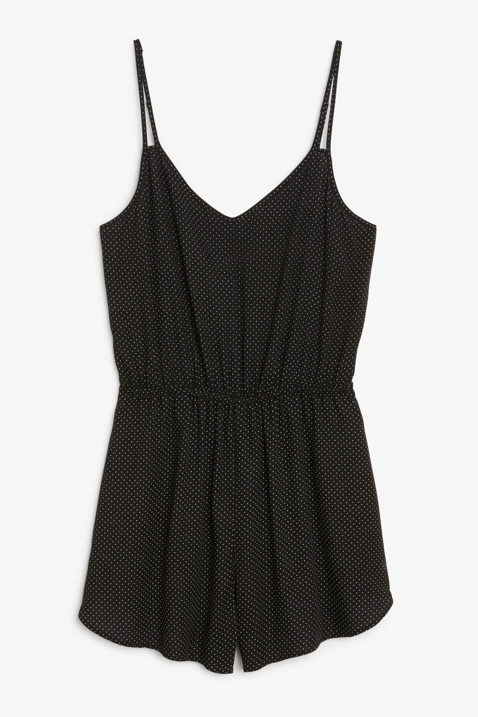 Front image of Monki double strap playsuit in black