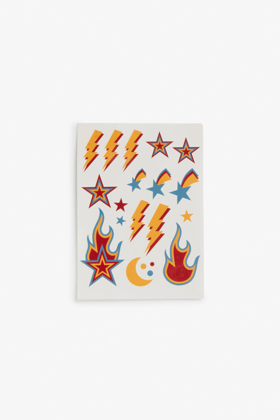 Front image of Monki temporary tattoos in blue