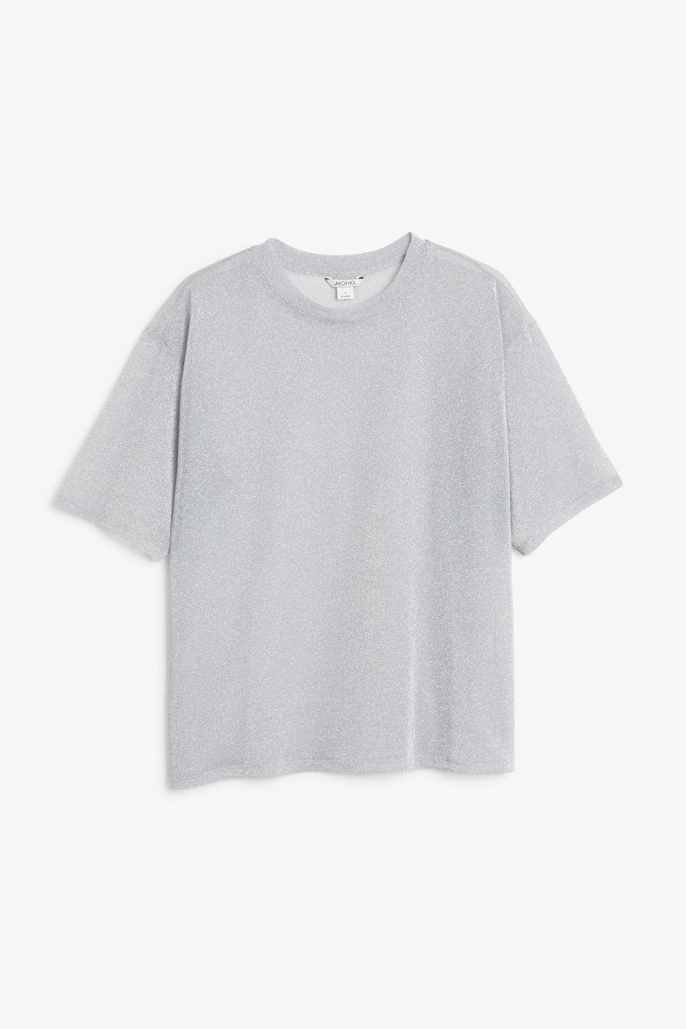 Front image of Monki oversize mesh top in silver