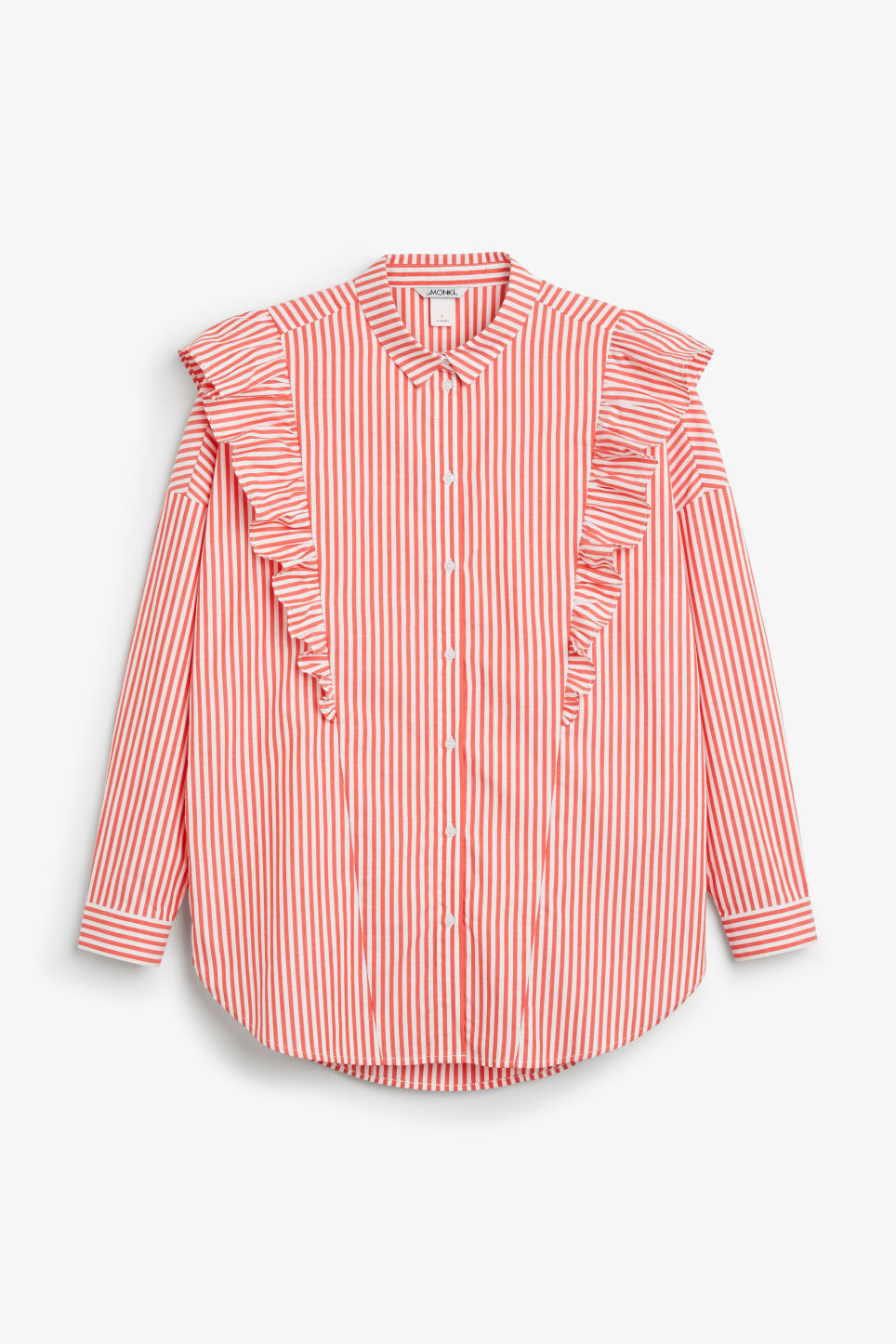 Front image of Monki ruffle button up shirt in orange