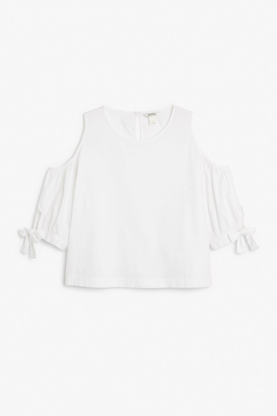 Front image of Monki cold shoulder blouse in white