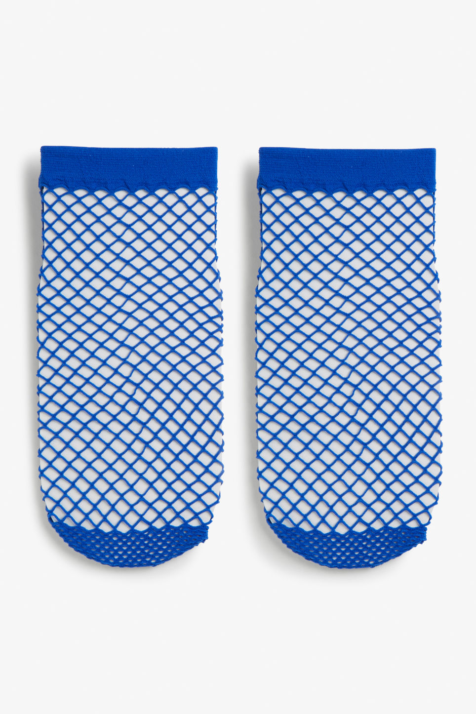 Front image of Monki fishnet socks in blue
