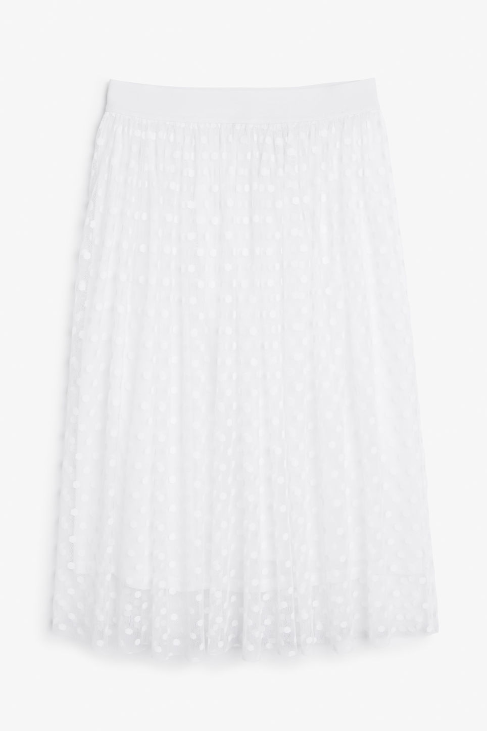 Front image of Monki polka dot lace skirt in white
