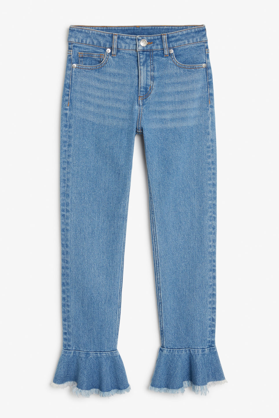Front image of Monki ruffled hem jeans  in blue