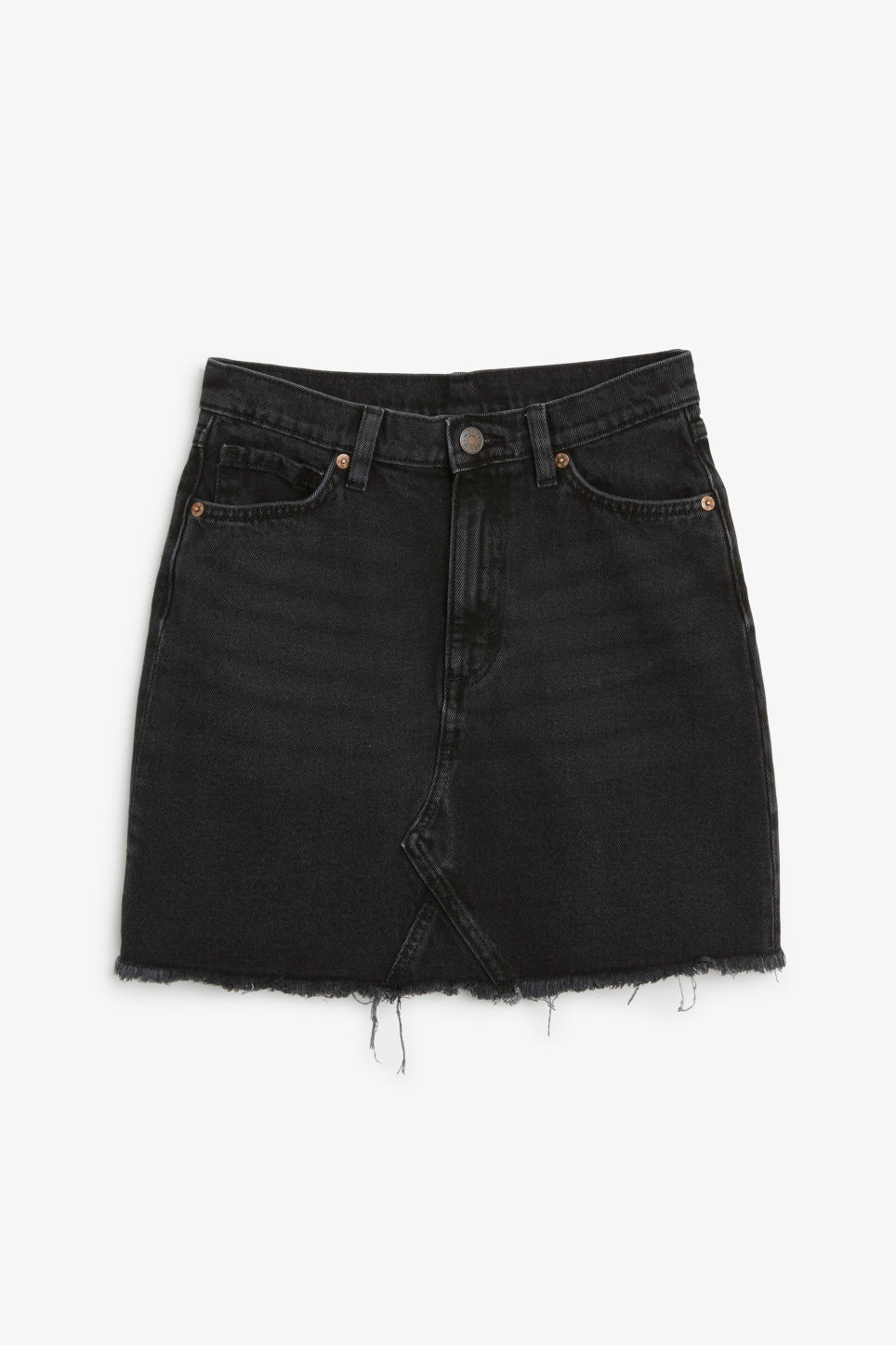 Front image of Monki frayed hem denim skirt in black