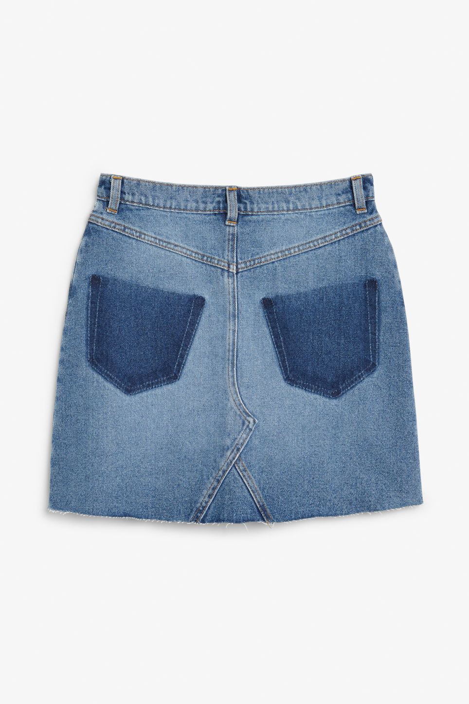 Back image of Monki frayed hem denim skirt in blue