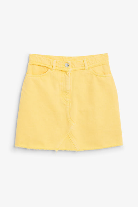 Front image of Monki frayed hem denim skirt in yellow