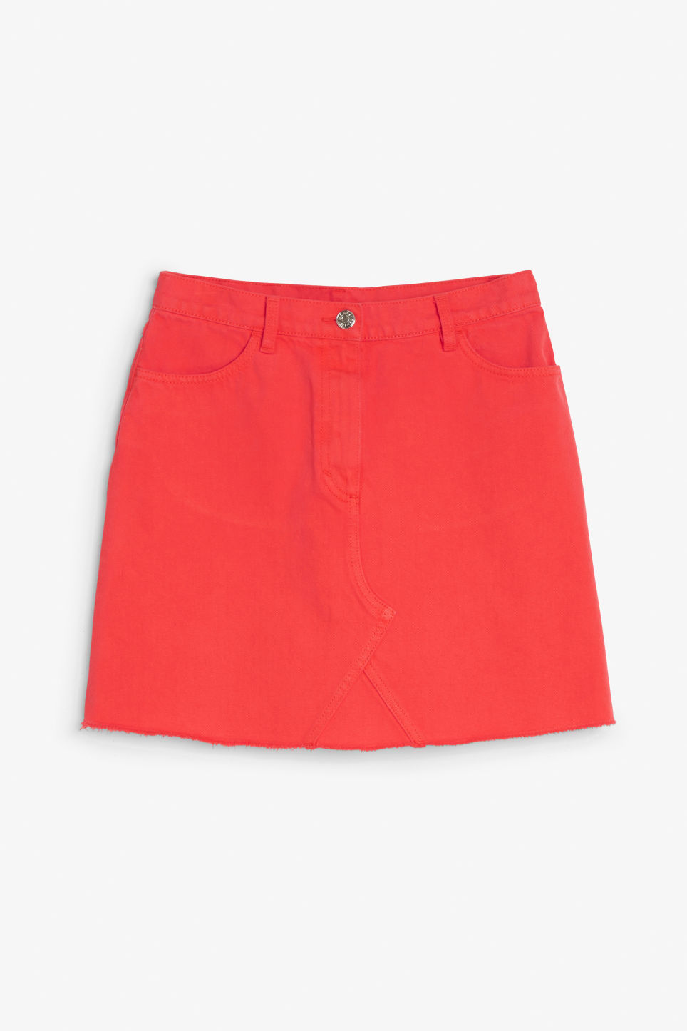 Front image of Monki frayed hem denim skirt in red