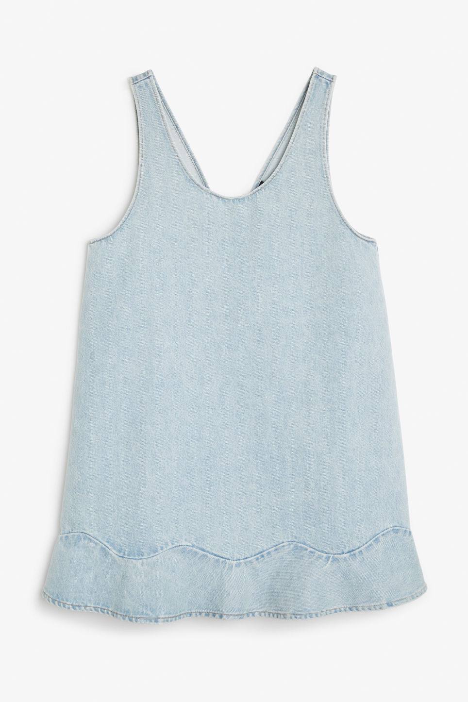 Front image of Monki denim dress with ruffle hem in blue