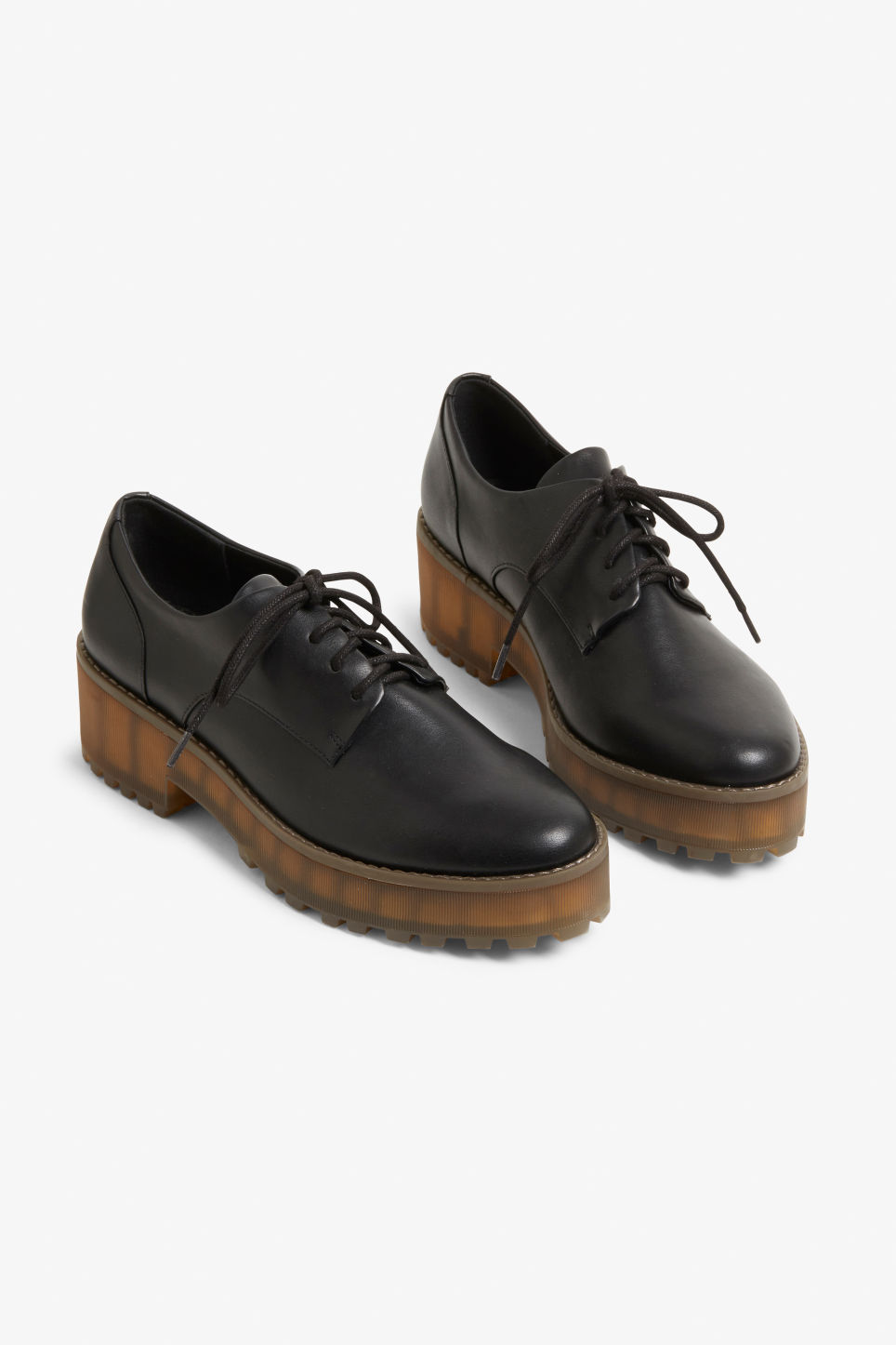 Front image of Monki flatform oxford shoes in black